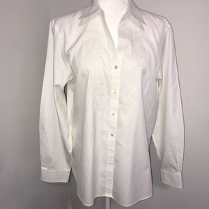 Foxcroft Non-Iron Shaped Fit Button Down SZ 14